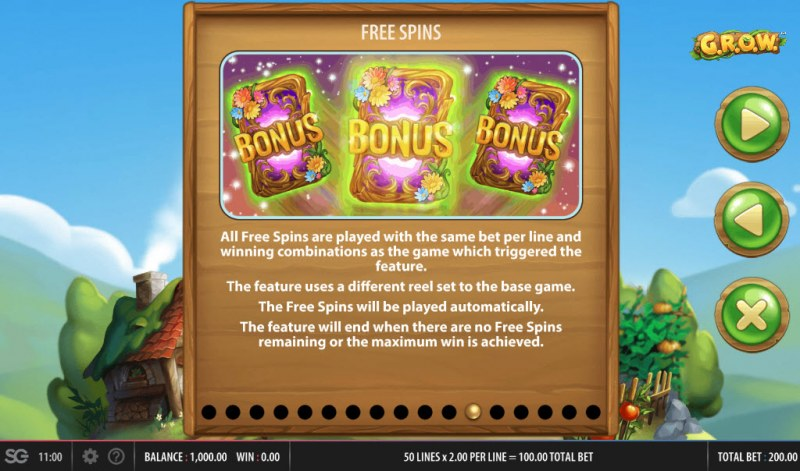 G.R.O.W. :: Free Spins Rules