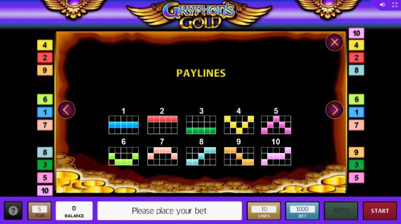 Gryphon's Gold :: Paylines 1-10