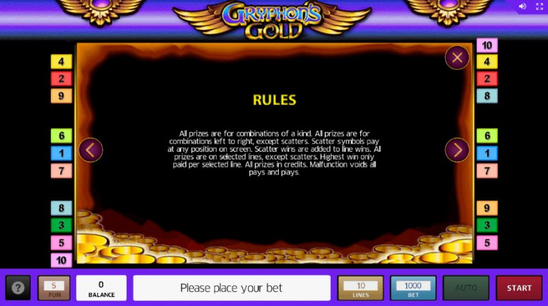 Gryphon's Gold :: General Game Rules