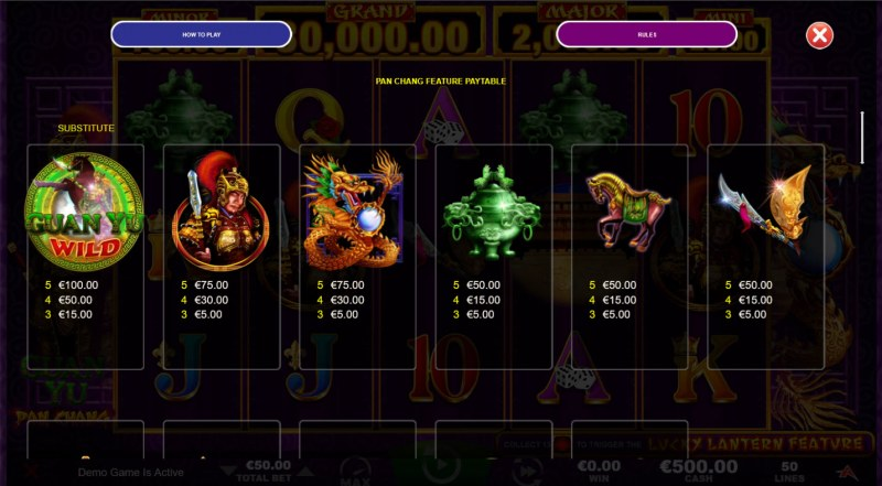 Guan Yu :: Feature Paytable