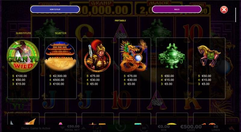 Guan Yu :: Paytable - High Value Symbols