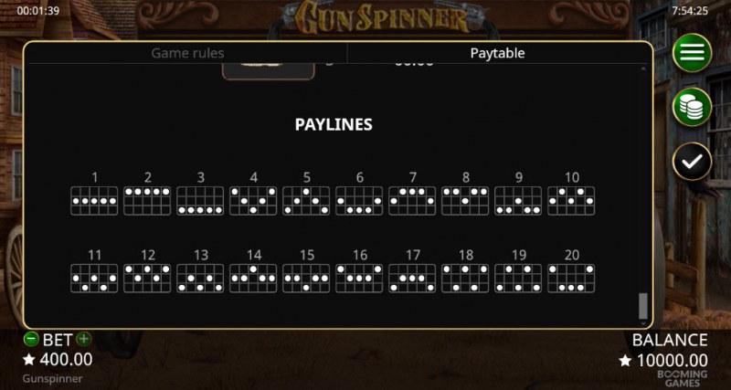 Gun Spinner :: Paylines 1-20
