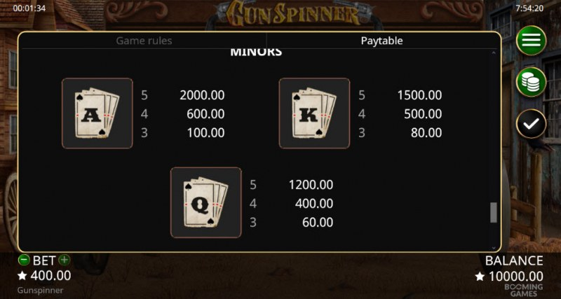 Gun Spinner :: Paytable - Low Value Symbols