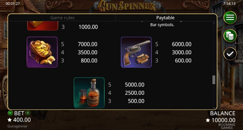 Gun Spinner :: Paytable - Medium Value Symbols