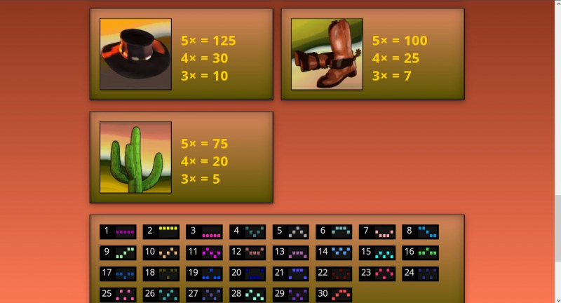 Gunspinner's Gold :: Paytable - Low Value Symbols