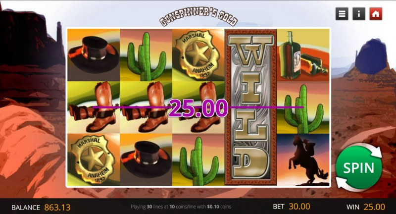 Gunspinner's Gold :: A four of a kind win