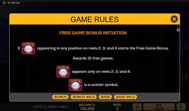 Gypsy 3 Triple Tarot :: Free Game Rules