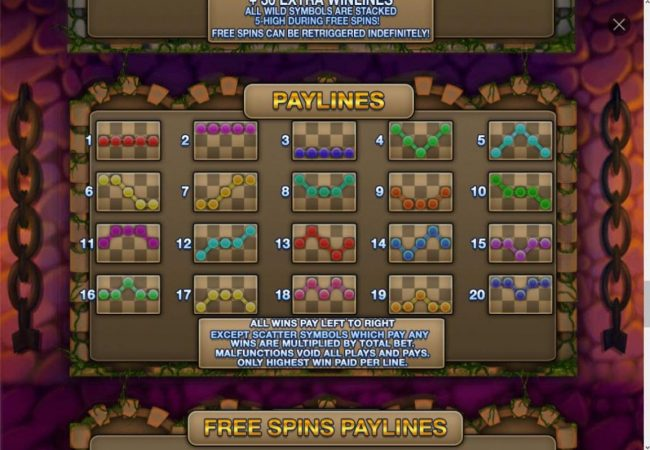 Payline Diagrams 1-20. All wins pay left to right, except scatter symbols which pay any.