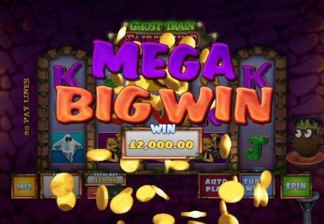A 2,000.00 Mega Win awarded player for bonus game play.