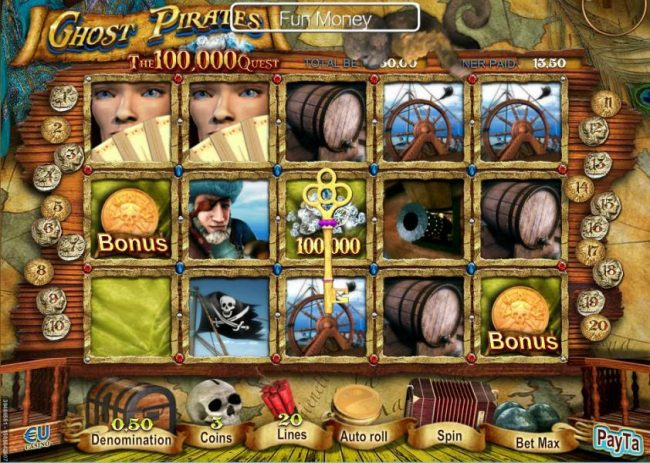Collect keys as they appear on screen, once you have collected five keys, you qualify to play the Lucky Door bonus game.