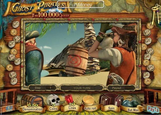 Win 7 featuring the Video Slots Ghost Pirates with a maximum payout of $100,000