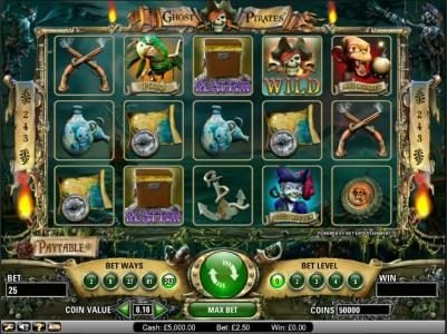 Play slots at 7Sultans: 7Sultans featuring the Video Slots Ghost Pirates with a maximum payout of $3,750