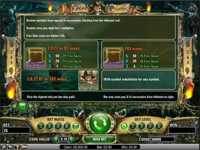 Ghost Pirates :: Ghost Pirates slot game scatter and wild payout table