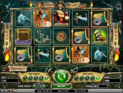 Videoslots featuring the Video Slots Ghost Pirates with a maximum payout of $3,750