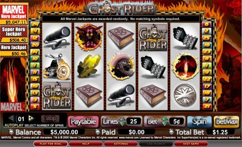 Play slots at Spintropolis: Spintropolis featuring the video-Slots Ghost Rider with a maximum payout of 10,000x