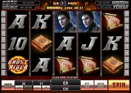 Rey8 featuring the Video Slots Ghost Rider with a maximum payout of $500,000