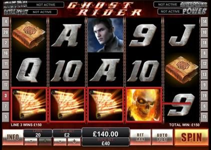 Ghost Rider :: 4 of a kind payout 150 coin jackpot