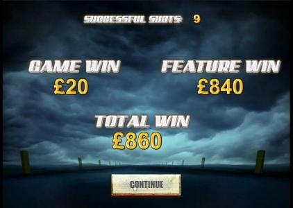 Ghost Rider :: 9 successful shots for a total win of 860 coins