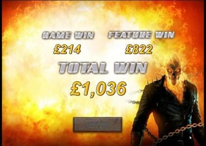 Ghost Rider :: free game feature leads to a 1036 credit payout