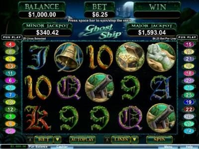 Royal Ace featuring the Video Slots Ghost Ship with a maximum payout of $250,000