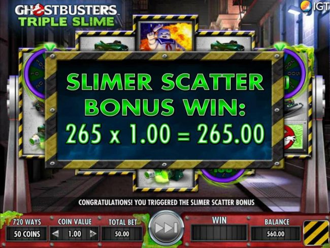 Vegas Baby featuring the Video Slots Ghostbusters Triple Slime with a maximum payout of $250,000