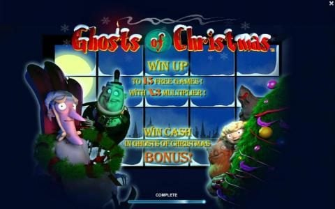 Win Up to 15 free games with x3 multiplier. Win cash in Ghosts of Christmas bonus.