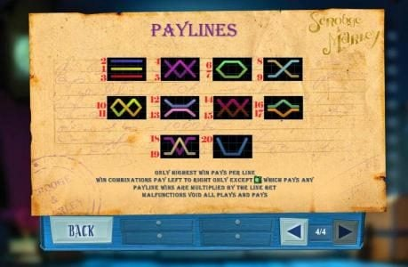 Payline Diagrams 1-20. Only highest win pays per line. Win combinations pay left to right only except rose scatter symbol which pay any. Payline wins are multiplied by the line bet.