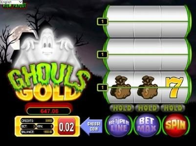 Ghouls Gold :: main game board featuring three reels and three paylines