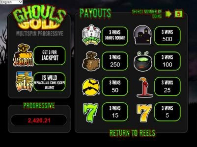 Lotus Asia featuring the Video Slots Ghouls Gold with a maximum payout of $500