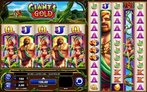 Giant's Gold :: Main game board featuring five reels and 100 paylines with a $1,000 max payout