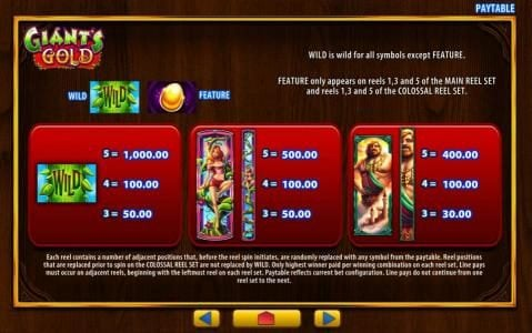 Dream Vegas featuring the Video Slots Giant's Gold with a maximum payout of $1,000