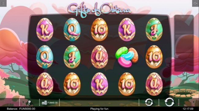 Gifts of Ostara :: Main game board featuring five reels and 20 paylines with a $120,500 max payout.