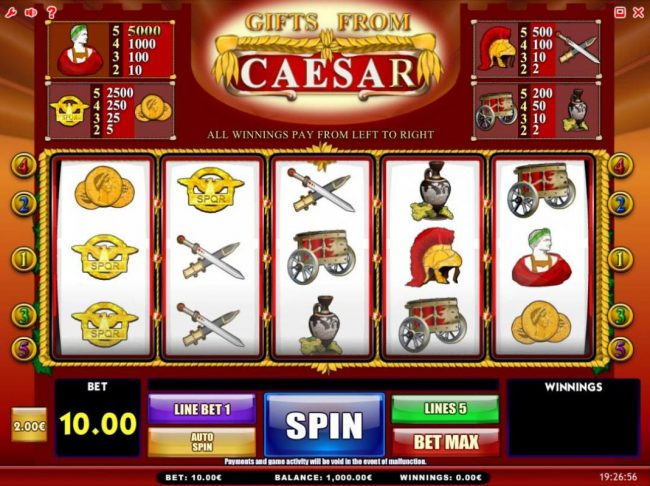 Gifts from Ceasar :: Main game board featuring three reels and 5 paylines with a $50,000 max payout