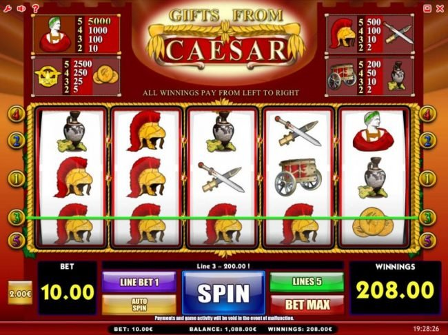 Gifts from Ceasar :: Multiple winning paylines triggers a 208.00 big win!