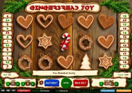 Gingerbread Joy :: Main game board featuring five reels and 25 paylines with a $1,875 max payout