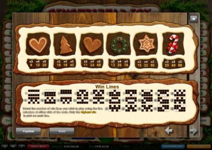 Gingerbread Joy :: Slot game symbols paytable and payline diagrams