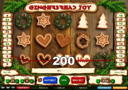 Gingerbread Joy :: Four of a Kind triggers a 200 coin line pay