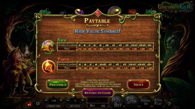 Superbet Palace featuring the Video Slots Giovanni's Gems with a maximum payout of $2,250,000