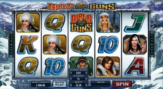 Play slots at Leo Vegas: Leo Vegas featuring the Video Slots Girls with Guns 2-Frozen Dawn with a maximum payout of $109,250