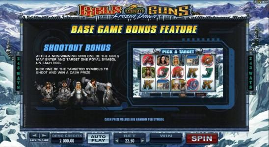 Quatro featuring the Video Slots Girls with Guns 2-Frozen Dawn with a maximum payout of $109,250