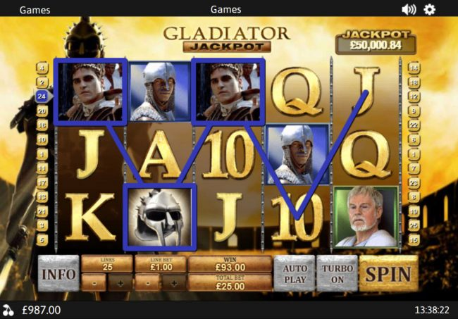 Club 777 featuring the Video Slots Gladiator Jackpot with a maximum payout of Jackpot