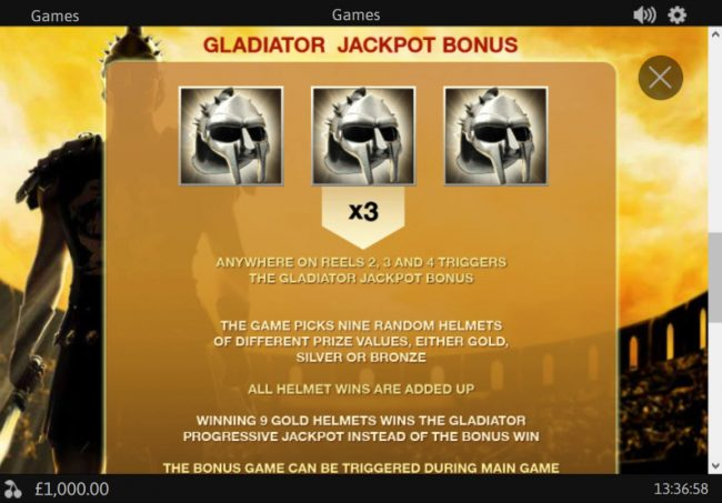 Grand Reef featuring the Video Slots Gladiator Jackpot with a maximum payout of Jackpot