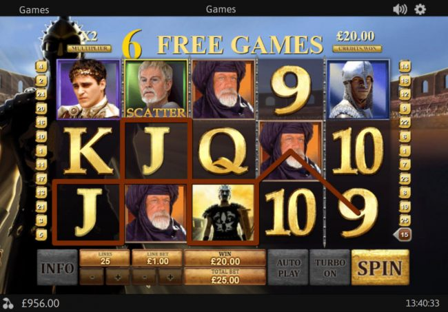 Slots Heaven featuring the Video Slots Gladiator Jackpot with a maximum payout of Jackpot