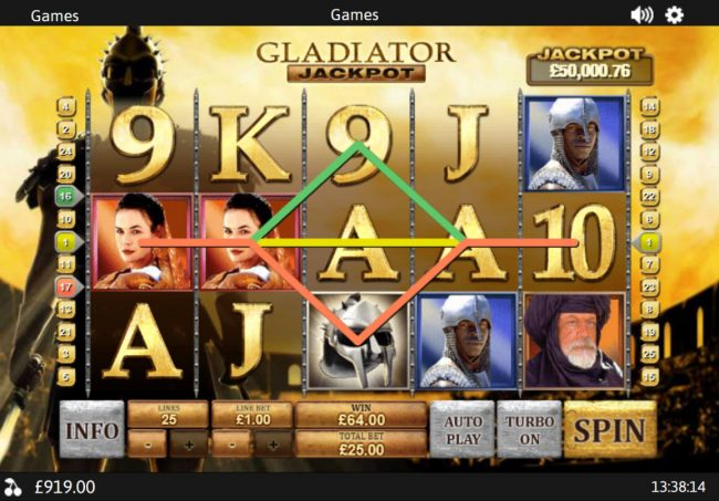 Play slots at Slotman: Slotman featuring the Video Slots Gladiator Jackpot with a maximum payout of Jackpot