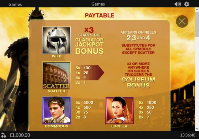 William Hill Casino Club featuring the Video Slots Gladiator Jackpot with a maximum payout of Jackpot