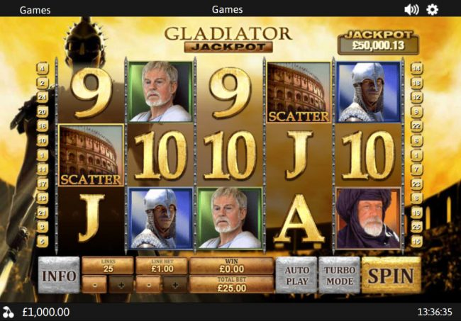 Carnival featuring the Video Slots Gladiator Jackpot with a maximum payout of Jackpot