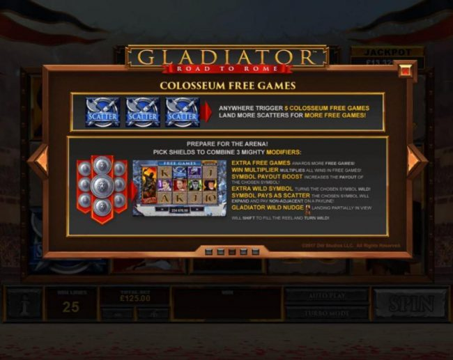 Betfair featuring the Video Slots Gladiator Road to Rome with a maximum payout of $125,000