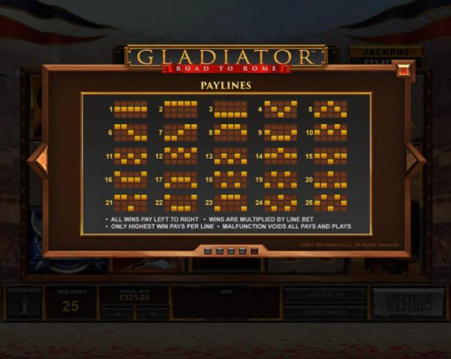 Gladiator Road to Rome :: Paylines 1-25