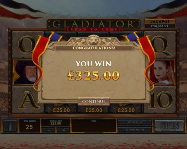 Gladiator Road to Rome :: Total bonus payout 325 coins