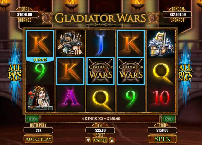 La Riviera featuring the Video Slots Gladiator Wars with a maximum payout of $12,500